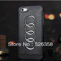 L1035 Free Shipping For IPhone 4/4S Luxury Car Logo High Quality Leather Phone shell Personalized Protective Cases Black/White