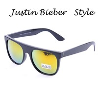 2013 Fashion Wear Modern Super Flat Top Shades Retro Style Sunglasses Men Mirrored Glasses Justin Bieber Sunglasses