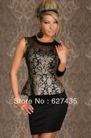 Wholesale!FREE SHIPPING!(10pieces)100% Brand New Women's Sexy Dress/Sexy Mature Foil Print Peplum Dress,LC2930