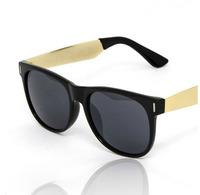 Hot Selling 2014 New Designer Retro Hipster Trendy Shades Retro Black Sunglasses Mens Gold Metal Arms Women Dark Sunglasses