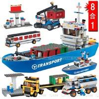 WOMA J5670 8in 1 Cargo ships Building Enlighten Building Block Set 3D Construction Brick Toys Educational Block toy for Children