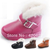 children's pu Waterproof thick warm snow boots 4 colour EUR size 24-29