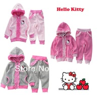 Retail !  2013 new Baby girls suits 100%cotton hoodie+pants cartoon clothes girls autumn wear girls hello kitty suit 3 colors