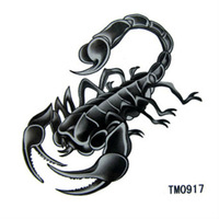 Free shipping! New instant waterproof temporary tattoo stickers scorpion paint printed, long last 5-7days, 3pcs/pack TM0917