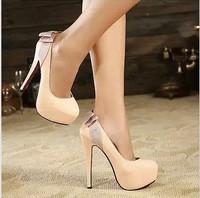 Free shipping,2013 lady OL sexy elegant Rhinestone Bowtie thin high heels platform pumps shoes,2 colors