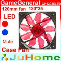 Case fan, Red/Blue LED, 120mm, 12cm fan, Slient, for power supply cooling, for computer Case cooling, GameGeneral GH12025LED