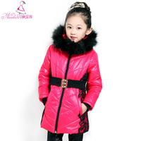 Children'S clothing Female Child 2014 Winter Wadded jacket mMdium-large Child Thickening Cotton-padded jacket Outerwear