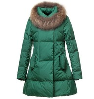 new 2013 winter candy color thickening large fur collar down jacket coat medium-long female luxury long sleeve fur coat