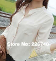 Stand collar chiffon shirt white shirt female long-sleeve chiffon shirt casual chiffon shirt female plus size
