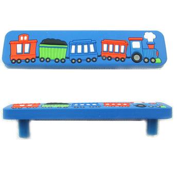 Cartoon Train Kids Drawer Handles Bedroom Furniture Door Knobs Kitchen Cabinet 96mm Hole Spacing Blue A1052-72