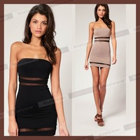 Wholesale & retail  Free shipping women's Sheer Bodycon Cut Out Mesh Strapless Tunic Mini dress