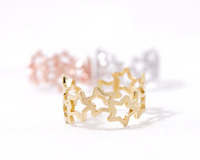 New arrival fashion jewelry star Gold Silver Pink-gold Linked Stars Ring with free shipping