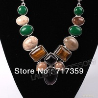 1pc/lot New Arrival Sweet Color Various Shape Smooth Resin Silver Plated Chain Chokers Necklace +Gift Box 322130