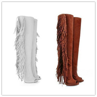 Free Shipping High Heel Boot Fish Toe Tassels White Brown