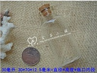 Free shipping 24pcs/lot factory wholesale glass bottles with cork 32 * 70 mm Wishing bottle