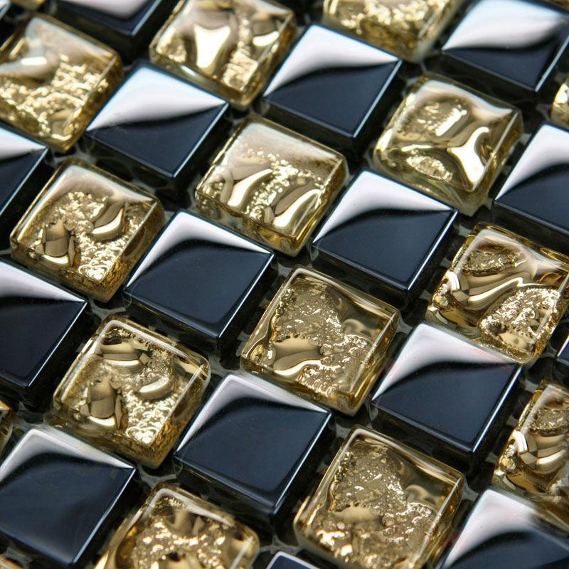 Crystal Glass Mosaic Tile Sheets Gold and Blue Bathroom Wall Tiles Kitchen Backsplash Stickers Swimming Pool Border Tile S001(China (Mainland))