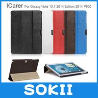 iCarer Microfiber Leather Case for Samsung Galaxy Note 10.1 2014 Edition P600 Magnetic Closure Sleep Stand Tablet Cover+Film