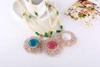 Opals round little flower set auger big Rhinestone necklace 2013 free shipping MMN-0036