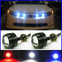 Free shipping Super Thin Car LED Fog Reverse Ligh,Newest LED Eagle Eye White Light Daytime Running Tail Backup Light Car Motor