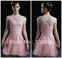 popular pink A Line transparent  Applique Lace Mini tulle prom Party Cocktail dresses Free shipping Custom Free A243