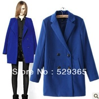 2013 New Autumn Winter Women Trendy  Double-breasted  Lapel collar  Woolen Outwear Medium long Trench Coat Blue Free shipping