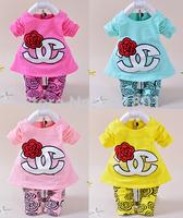 2014 new autumn Korean fashion Children's clothing set  baby girls flower cotton two pcs sets free shipping