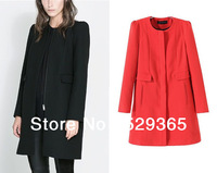 Женская одежда из шерсти 2013 New ZA Fashion Women Autumn Winter Metal Double-breasted Lapel Woolen coat Outerwear Black