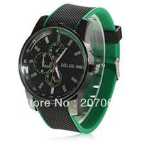 1pcs Stylish SBAO 167 Men's Man boy Round Dial Quartz Hours Analog Rubber Band Wrist Watch Wristwatches - Black and GREEN L41