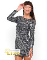 Hot Sale  Criss Cross Bodycon Sequin Dress in Green Silver Black