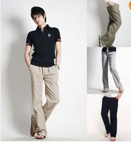 FREE SHIPPING Mens Designed Loose Fit Comfort Straight Linen Pants Stylish Drawstring Trousers