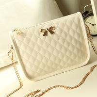 2014 summer brand new handbag embroidered lozenge chain bag lady bow plaid shoulder bag lady crossbody Satchel shoulder bag