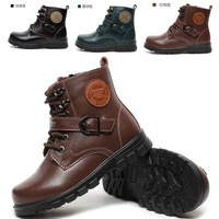 new 2013 warm Genuine Leather shoes kids winter children's Martin boots Lace-up  buckles  zippers for boys free shipping