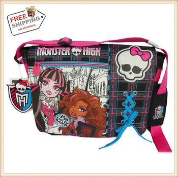 Free Shipping Kid Cartoon Baby Monster High Doll Shoulder School Bag Children Student Messenger Backpack Christmas Gift For Girl