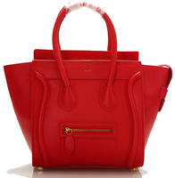 Free Shipping Smiley women's genuine leather handbag Trapeze cowhide ladies famous brand handbag designer shoulder bags 5 colors