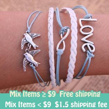Fashion Vintage Infinity Cross Love Birds Infinity Cross Bracelet leather bracelet free shipping