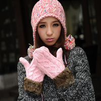2013  handmade knitted double layer thickening halter-neck thermal yarn female gloves girl ladies women's winter mittens gloves