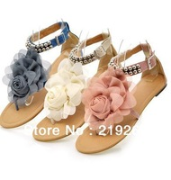 Hand Made Plus Size Flower Sandals for Women 2013 Summer Lady Flower Slippers Size5-9.5 Fashion Women Shoes