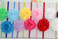 60pcs/lot Free shipping Shabby Flowers Skinny Elastic Headband for baby and children Hair Accessory