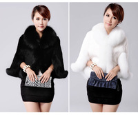 Winter 2013 elegant Faux rabbit fur cape coat, women's fashion Faux fox fur collar warm short cloak black white jacket S M L XXL