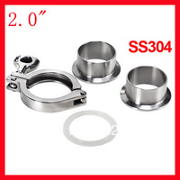 """2014 Stainless Steel Fittings free Shipping 2.0"""" Ss304 Pipe Connection/ Ferrule Set/ Tri-clamp Union (2x + 1xclamp 1xgasket)"""