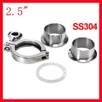"Free shipping 2.5"" SS304 clamp union/ Ferrule complete set (2x ferrule + 1xclamp + 1xgasket)"