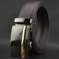 New men's fashion auto lock steel buckle belt genuine cowskin brown leather waist belt#pk57-T1