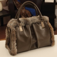 2013 New Fashion Real Rabbit Fur Women Leather Handbag High Quality Classic Totes Messenger Bag Khaki Casual Shoulder Bag A192