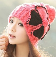 1 Pcs Free Shipping 2013 Winter Warm Knit Caps Fashion Women Butterfly Earmuffs Hat Multi-color MZ6814