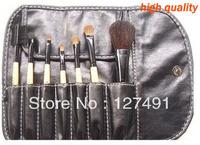 New 2013 7pcs Cosmetic Facial Make up Brush Kit Makeup Brushes Tools Set brand makeup+ Black Leather Case Free Shipping