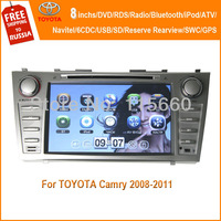 Free ship RoadFeast 8inchs car dvd player for Camry 2008-2011 with BT/iPod/GPS/ATV/3G/Radio/SWC/Virtual 6CD/Rearview/Navitel Map