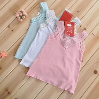 5pcs/lot vest -summer baby girl's fashion lace top cotton lace knitted crochet t-shirt sleeveless kids clothes girls