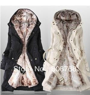 Free shipping 2014 hot sell ! New style Faux fur lining women's winter warm long fur coat jacket.5 size,color:white black (1.3KG