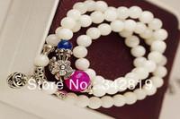 Free Shipping Korean Style Hot Fashion Vintage Classice Jewelry Women Lady Female Girls Strands Sweater Beads Bracelet Bangles