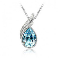 (Min order $10 mix) Fashion 18K white gold plated austrian crystal Angel wings wedding women pendant necklace